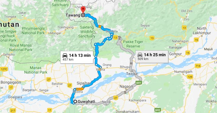 Best Route for Guwahati to Tawang Road Trip