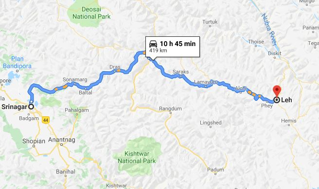 What is the Best Route for Srinagar to Leh Road Trip?