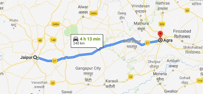 Best Route to Reach Agra from Jaipur