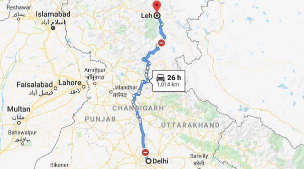Delhi to Leh Road Trip Route Map
