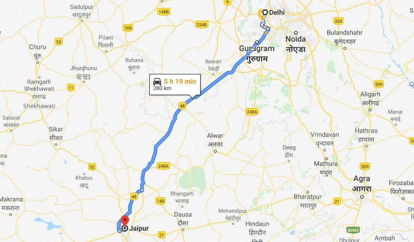 Delhi to Jaipur Road Trip Route Map